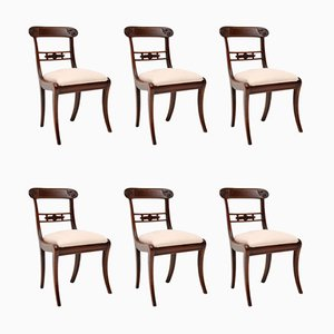 Antique Brass and Inlaid Mahogany Dining Chairs, Set of 6