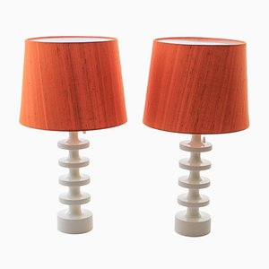 Scandinavian Modern Orange & White Table Lamps by Uno & Östen Kristiansson for Luxus, 1960s, Set of 2