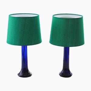 Moderne skandinavische Tischlampen aus Farbglas von Uno & Östen Kristiansson für Luxus, 1960er, 2er Set