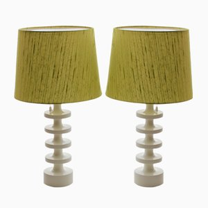 Scandinavian Modern Green & White Table Lamps by Uno & Östen Kristiansson for Luxus, 1960s, Set of 2
