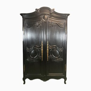 Antique Black Oak Wedding Armoire