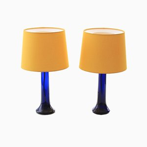 Scandinavian Modern Colored Glass Table Lamps by Uno & Östen Kristiansson for Luxus, 1960s, Set of 2