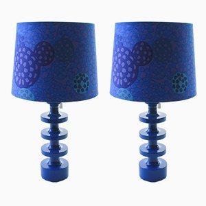 Moderne blaue Tischlampen im skandinavischen Stil von Uno & Östen Kristiansson für Luxus, 1960er, 2er Set