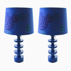 Scandinavian Modern Blue Table Lamps by Uno & Östen Kristiansson for Luxus, 1960s, Set of 2