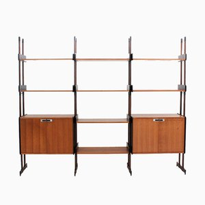Mid-Century Italian Rosewood and Teak Wall Unit, 1950s