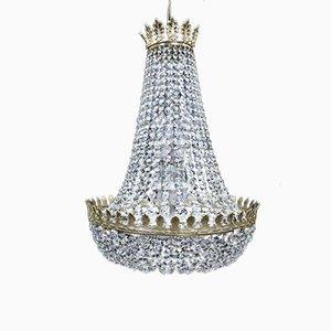 Lámpara de araña inglesa estilo imperio grande con cesta de cristal, años 70