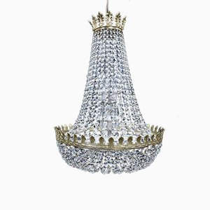 Large Empire Style English Crystal Basket Chandelier, 1970s