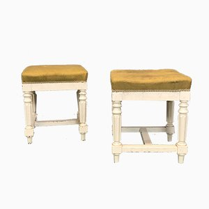 Antique Louis Philippe White Painted Stools, Set of 2