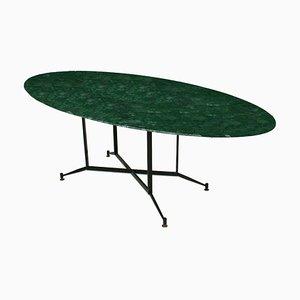Mesa de comedor italiana de mármol verde, años 50