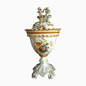 Vaso vintage in ceramica bianca con coperchio e decorazione floreale di Bassano