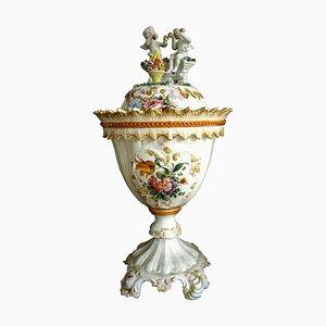 Weiße Vintage Keramikvase mit Deckel & Blumendekoration von Bassano