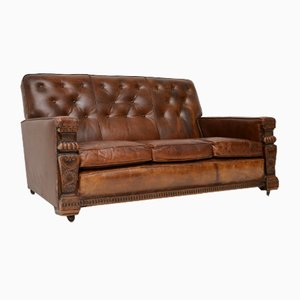 Antique Leather Sofa, 1930s