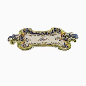 Piatto da parete vintage in ceramica di Rouen, Francia