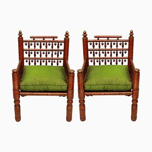 Vintage Pakistani Red Lacquered Wedding Armchairs, 1940s, Set of 2