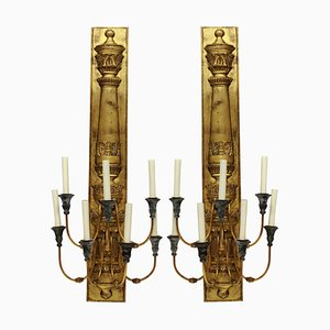 Vintage Metal and Gold Leaf Sconces, 1960s, Set of 2
