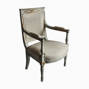 Antique Wood and Linen Armchair, 1810s