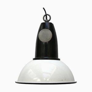 Lampe à Suspension Industrielle Vintage en Émail Blanc et Bakélite, 1950s