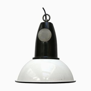 Vintage Industrial White Enamel & Bakelite Pendant Lamp, 1950s