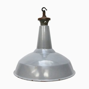 Vintage Industrial British Grey Enamel Pendant Lamp, 1950s