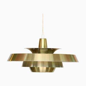 Danish Golden Aluminum Pendant Lamp from Super Light, 1960s