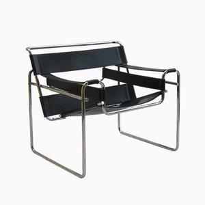 Wassily B3 Sessel mit verchromtem Gestell & Lederbespannung von Marcel Breuer für Gavina, 1960er