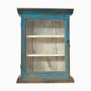 Blaue Vitrine aus Holz, 1940er