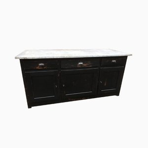 Vintage Industrial Butcher's Counter with Marble Top