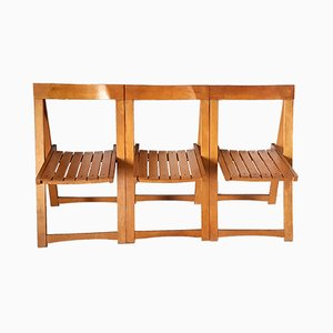 Beech Folding Chairs, 1960s, Set of 3
