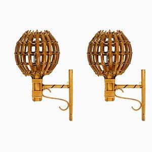 Apliques Mid-Century de bambú y ratán, años 50. Juego de 2