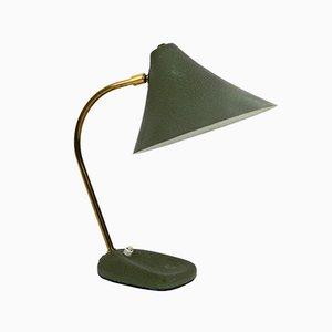 Lámpara de mesa austriaca Mid-Century lacada en verde, años 50