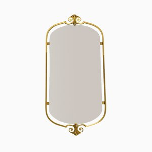 Large Mid-Century Brass Wall Mirror, 1950s