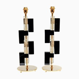 Tischlampen aus Muranoglas & Messing, 1980er, 2er Set