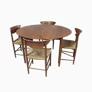 Vintage Danish Teak Dining Table & 6 Chairs Set by Peter Hvidt & Orla Mølgaard-Nielsen for Søborg Møbelfabrik