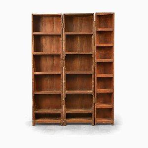 Librería triple de madera, años 40