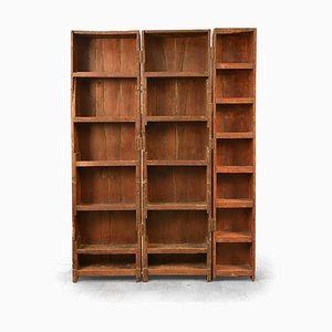 Wooden Triple Bookcase, 1940s