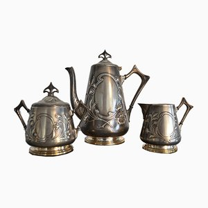 Antique Art Nouveau Coffee Service Set from WMF, 1900s