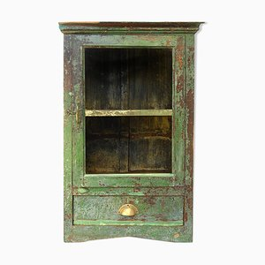 Green Patinated Wood Display Cabinet, 1940s