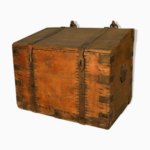 Wooden Chest with Iron Hardware, 1950s