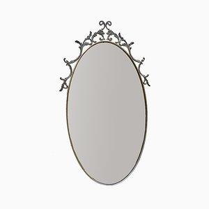 Ovaler Vintage Spiegel mit Messingrahmen