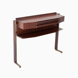 Mid-Century Italian Rosewood & Brass Console Table, 1950s