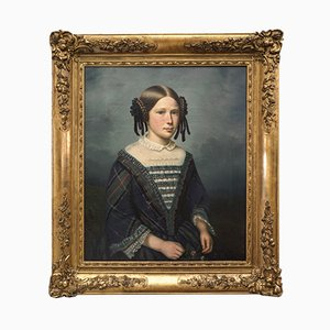 19th-Century French Oil on Canvas Female Portrait by Dedôme, 1852