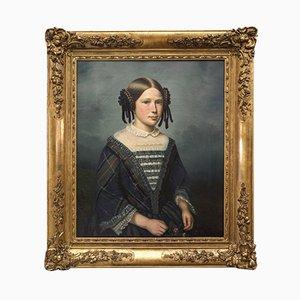 Französisches Öl auf Leinwand Frauenportrait von Dedôme, 1852