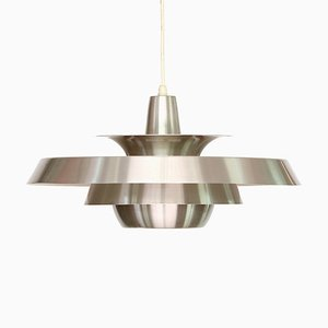 Danish Brushed Aluminum Pendant Lamp from Super Light, 1960s