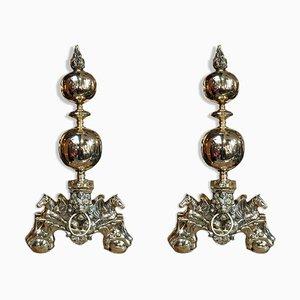 19th-Century Brass Andirons, Set of 2