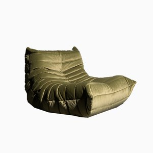 Green Velvet Togo Lounge Chair by Michel Ducaroy for Ligne Roset, 1980s