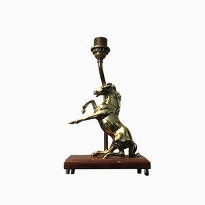 Lámpara de mesa vintage en forma de caballo de latón sólido