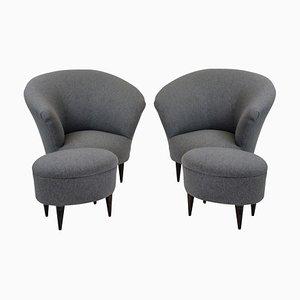 Mid-Century Stühle mit Fußhocker von Ico & Luisa Parisi, 1950er, 2er Set