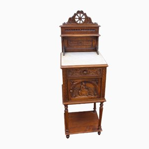 Antique Oak and Marble Bedside Cabinet, 1910s