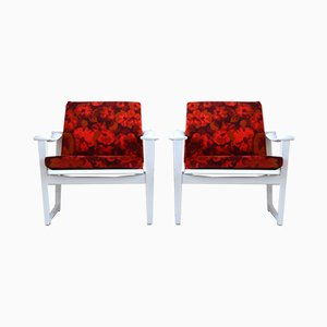 Model 65 White Armchairs by M.Nissen for Mobelfabrik Horsens Denmark, 1960s, Set of 2