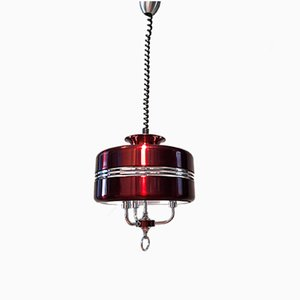 Red Aluminum and Chrome Pendant Lamp by Jean Gandelin, 1970s